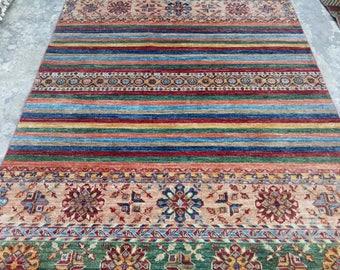 ARTICLE # 6030 Beautiful Afghani Khurjeen Carpet Rug Hand Made 239 x 171 CM , 7.8 x 5.6 Feet