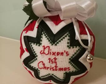 Personalized quilted Christmas bauble, personalized quilted ornaments with cross stitch message, baby's first christmas ornament