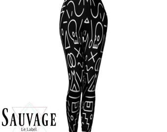 Black and white and skulls Leggings for the wild ones • yoga class and sunday brunch approved • handmade in Montreal - XS to XL