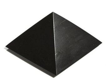 Shungite Pyramid 2.36-4 inch. (6-10 cm) Polished Shungite EFM Protection Shungite Stone Healing Stones Karelian Shungite For Chakra Ballance