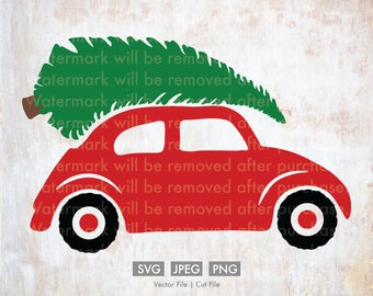 Christmas Tree and Car  - Vector / Cut File - Silhouette, Cricut, SVG, PNG, JPEG, Clip Art, Download, Evergreen, Holidays, Cute, Old Fashion