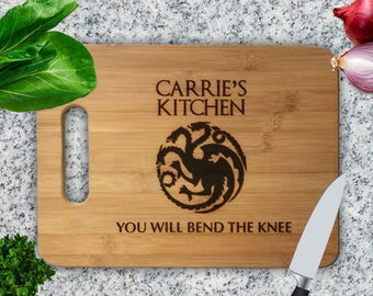 Game Of Thrones Bend the Knee Personalized Cutting Board