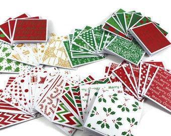 Mini Christmas cards, Bulk Set, 3x3 Cards, Gift Tags, Mini Note Cards, Mini Note Cards, Handmade cards & envelopes, Red and Green Christmas