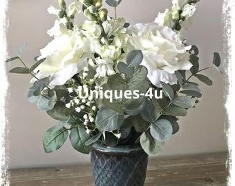Prince Charming - Floral Arrangement - silk flowers- flower arrangement - ceramic blue base- white flowers