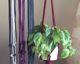 Darius* macrame plant hanger, crown knot, coloured cotton decor, handmade, pot holder, bohemian decor
