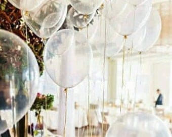 Clear Balloons, Clear Confetti Balloons, Clear Balloons for Weddings, Engagements, Birthdays Pkt 18