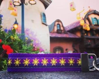Rapunzel Inspired Key Fob/Wristlet. Tangled, sun, key holder.