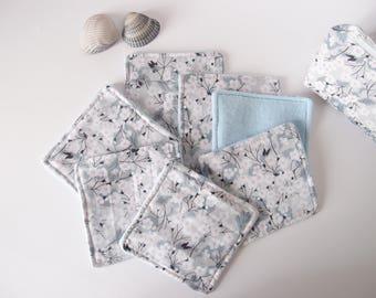Lingettes lavables en coton pour le démaquilage - Lot de 7 - molleton bleu et liberty mitsi