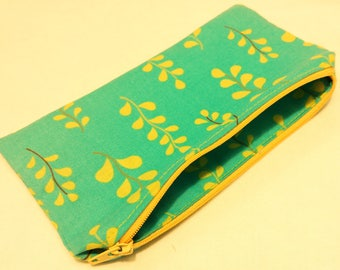 Turquoise and Yellow Zipper Pouch with Leafy Motif; cosmetic bag; zipper clutch; makeup bag; gadget case; gift for her; girls pouch