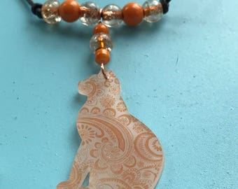Copper Paisley Kitten Necklace and Earring Set