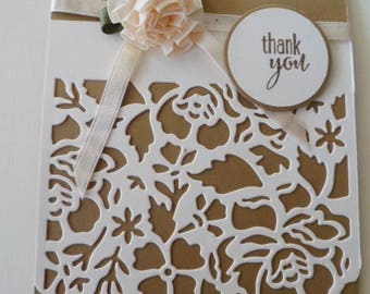 Custom Thank you card, Handmade greeting card, Handmade Thank You card, thank you gift
