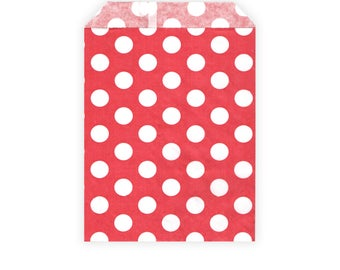 Retro Candy Bags - Red / White Polka Dots - Party Bags / Paper Bags - for Gifts, Favours, Giveaways, Sweets, Cards - 13 x 18 cm (5 x 7 in)