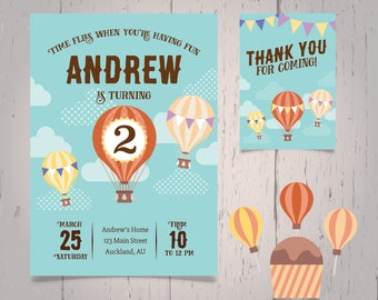 Hot Air Balloon Invitation|Hot Air Balloon Birthday Card|Hot Air Balloon Card|Hot Air Balloon birthday invitation card + Free Thank You Card