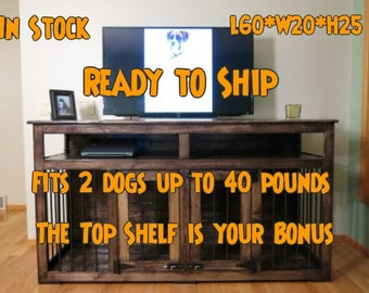 Charlie - Entertainment Center / Custom Handmade Kennel / Crate for Dogs / 60x20x25 / Ready to Ship