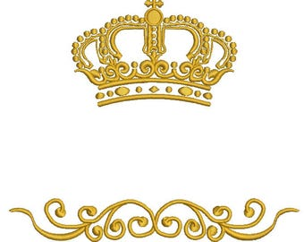 crown and patern embroidery design