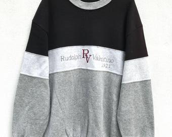 Vintage Rudolph  Valentino Sweatshirt Embroidery Sweater Pullover Jumper Valentino Fashion Designer Colourblock Jacket sz L on tag