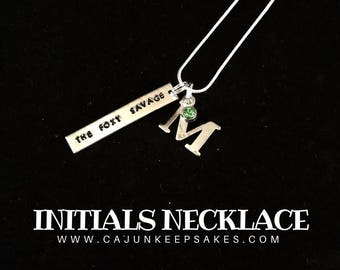 Initial Necklace | Keychain | Custom |  Personalized Handstamped Jewelry