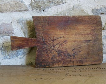 wood cutting board with handle, antique French chopping block