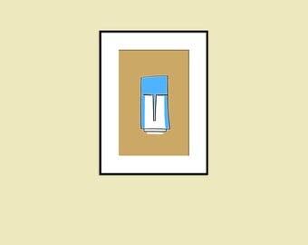 Abstract minimalist drawing, Beige and blue art print, wall decor, Minimal art print, sketch art, printable art