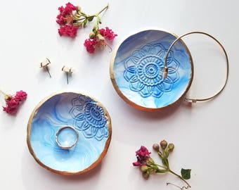 Bridal Shower Gift, Clay Ring Dishes, Catchall, Blue Trinket Dish, Jewelry Holder, Wedding Favor, Bridesmaids Gift, Birthday Gift for Her