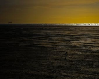The World and Me, Minimalist, Beach, Sea, Sunset, England