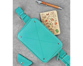 Leather Fanny Pack, colourTiffany, handmade leather fanny pack