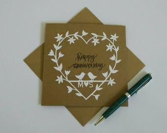 Personalised happy anniversary card, papercut anniversary card, floral heart anniversary card, handmade greeting card