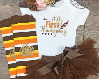 My First Thanksgiving Outfit Baby girl Thanksgiving outfit My 1st Thanksgiving Baby Girl outfit Newborn Thanksgiving outfit Newborn girl set