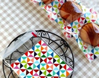 100 plastic bags for candy or jewelry-pattern geometric - Sachets favors - wedding, birthday, baptism - 10 * 10 cm