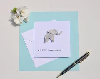 Origami Elephant Greetings Card