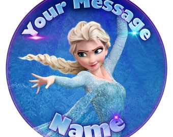 """Frozen Elsa Inspired Personalised Edible Icing. Birthday Cake Topper Decoration 7.5"""""""