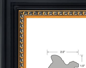 Mr.Z Frames Upscale Contemporary, 2.5 Inch Black & Gold Picture Frame