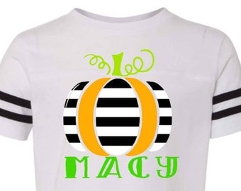 Toddler Pumpkin Shirt | Child Halloween Shirt | Personalized Fall Shirt | Striped Pumpkin Shirt | Halloween Shirt | Toddler Halloween