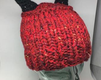 Hand chunky knit devil horns ! Express your inner demon.