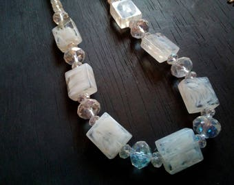 Creation white Crystal Necklace Bead multicolor reflection original square resin crew neck long mid