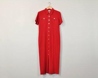 Long Linen Dress, Vintage 90s Minimal Dress, Minimal Maxi Dress, Linen Maxi Dress, Short Sleeve Full Length Dress, Simple Red Dress Size 8