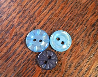 Trio of Blue Vintage Buttons