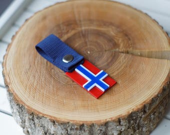 Norway flag keychain Viking key-ring / Norge keyring Norse key fob Lanyard