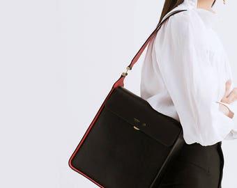 Large shoulder bag leather bag purse, designer shoulder bags, messenger bag, black shoulder bags, two-tone shoulder bag ladies messenger bag