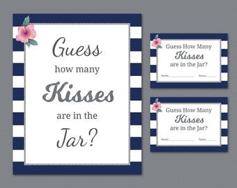 Guess How Many Kisses are in the Jar, Bridal Shower Games, Silver Kate Spade Stripes, How Many Kisses, Wedding Shower, Candy Guess, A019
