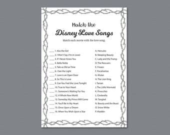 Match the Disney Love Songs, Bridal Shower Games, Gray Confetti, Glitter, Wedding Shower, Wire Fencing, Love Songs Matching Game, A023