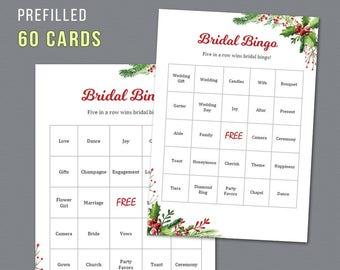 Christmas Bridal Shower Bingo, Unique Prefilled 60 Cards Printable, Festival Season, Bridal Shower Games, Bachelorette Bingo, Wedding,  A025