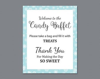 Candy Buffet Sign, Printable Candy Bar Sign, Winter Snowflakes Wedding Table Sign, Grab a Treat Sign, Baby Shower, Bridal Shower Decor, A026