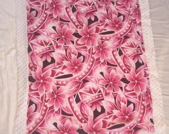 Adorable minky blanket with aloha print front