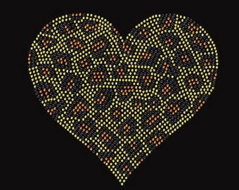 Leopard Heart Rhinestone Iron on Transfer Relaxed Fit Lightweight T-Shirt    or  DIY Iron On Transfer                       9XKW