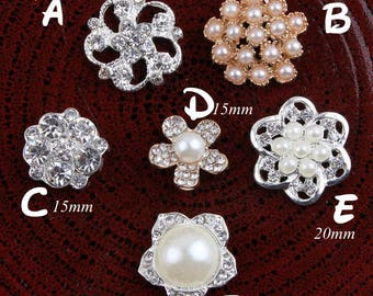 Bling Alloy Crystal Flatback Rhinestone Buttons for Wedding Ornaments Clear Metal Pearl Buttons for Hair Accessories