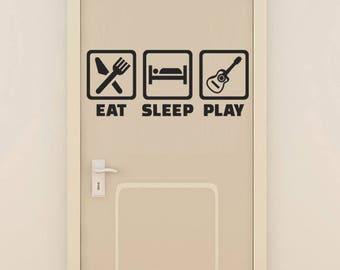 Sticker sign, eat, sleep, play