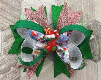Christmas hair bow,  YOU PICK CENTER Design, Holiday hair bow, christmas boutique bow, red hair bow, toddler hair bow, girls hair bow