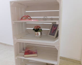 """Set of 2 white wooden boxes with intermediate floor """"shabby-chic"""""""