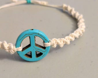 Turquoise Peace Sign Hemp Bracelet w/ adjustable sizing
